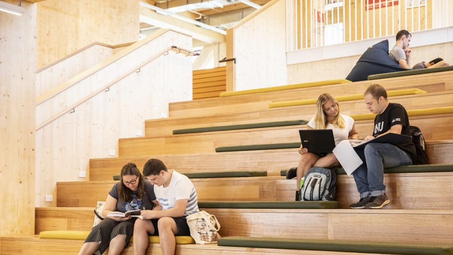 Students study together on campus